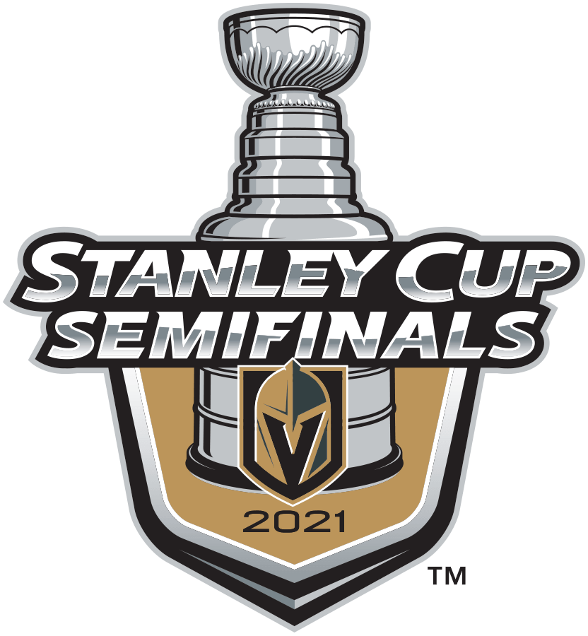 Vegas Golden Knights Logo Event Logo (2020/21) - The Vegas Golden Knights 2021 Stanley Cup Semi Finals logo, commemorating the Golden Knights advancement to the third round of the 2021 Stanley Cup Playoffs. Typically this would have been a berth in the Conference Finals but there were no conferences this season due to COVID-19 divisional realignment within the NHL. SportsLogos.Net