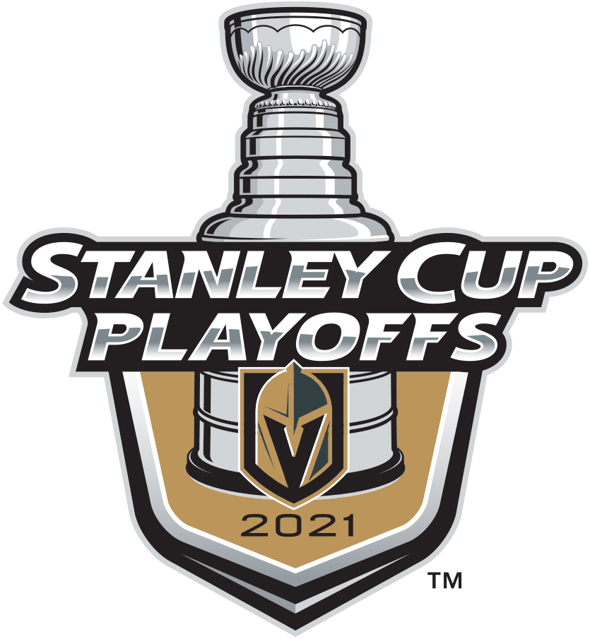 Vegas Golden Knights Logo Event Logo (2020/21) - The Vegas Golden Knights 2021 Stanley Cup Playoffs logo features the Golden Knights gold and black helmet-on-a-shield logo on a gold shield with STANLEY CUP PLAYOFFS written above in silver and 2021 below in black. A depiction of the top-half of the Stanley Cup can be seen above the shield. This logo is used by the Golden Knights on various materials throughout their participation in the 2021 NHL Stanley Cup Playoffs. SportsLogos.Net