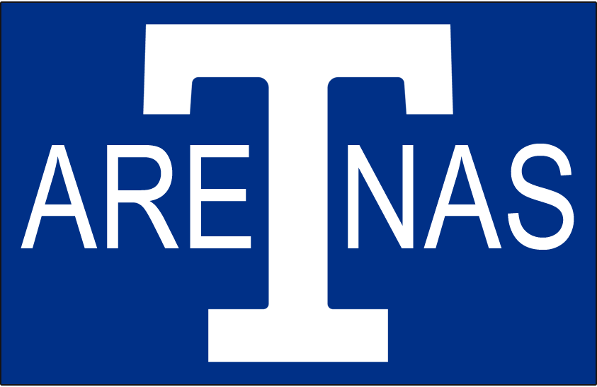 Toronto Arenas Logo Jersey Logo (1918/19) - A white T with ARENAS written on either side on blue SportsLogos.Net