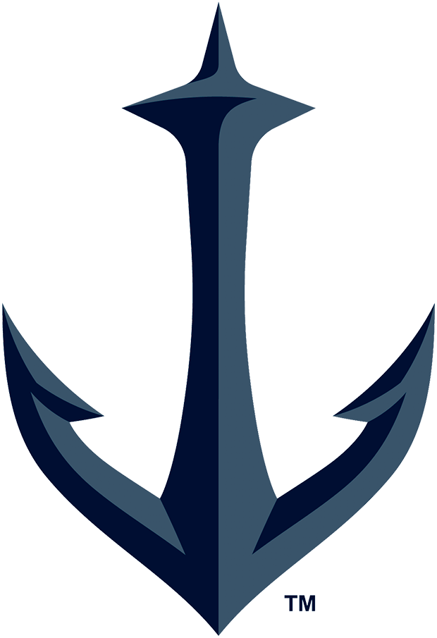 Seattle Kraken Logo Alternate Logo (2021/22-Pres) - A double-blue anchor with Seattle's Space Needle, worn on the shoulders of the Kraken home and road jerseys SportsLogos.Net