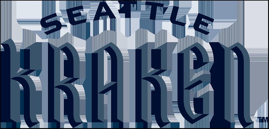 Seattle Kraken Logo Wordmark Logo (2021/22-Pres) - Kraken in calligraphic font with SEATTLE arched above SportsLogos.Net