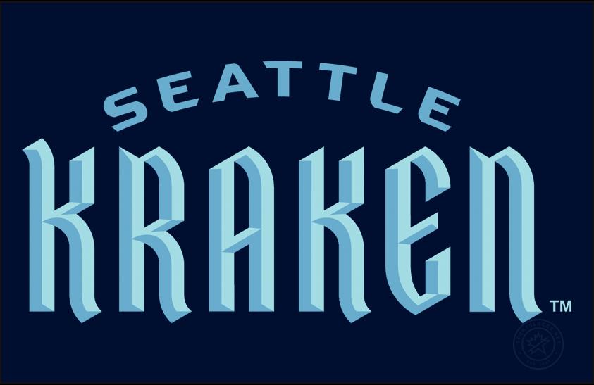 Seattle Kraken Logo Wordmark Logo (2021/22-Pres) - Kraken in calligraphic font with SEATTLE arched above, shown on a deep sea blue background SportsLogos.Net