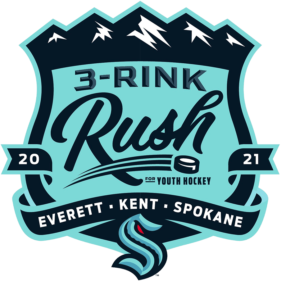 Seattle Kraken Logo Special Event Logo (2021/22) - For their inaugural pre-season slate of games, the Seattle Kraken played three games in nearby Everett, Kent, and Spokane, Washington as part of a series they called the 2021 3-Rink Rush. The logo shows a mountain range above a shield with a banner and the Kraken logo below. SportsLogos.Net