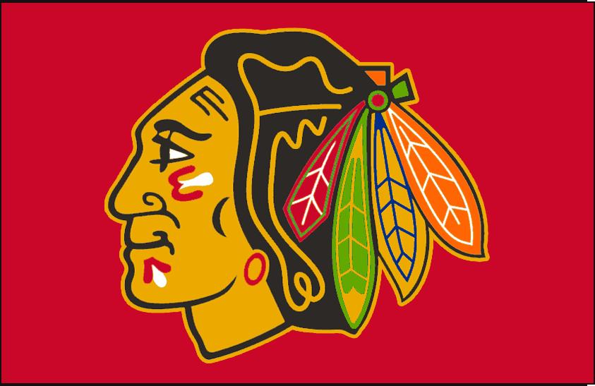 Chicago Blackhawks Logo Jersey Logo (1989/90-1995/96) - Native American head wearing feathered headdress on red, worn on Chicago Blackhawks red jersey from 1989-90 through 1995-96 SportsLogos.Net