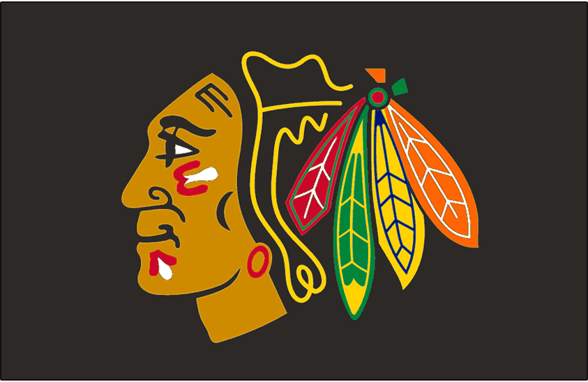 Chicago Blackhawks Logo Jersey Logo (1999/00-2006/07) - Native American head wearing feathered headdress, worn on Blackhawks black alternate jersey starting with 1999-2000 season until 2006-07, worn again in 2008-09 SportsLogos.Net