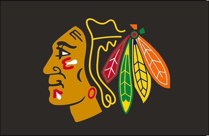 Chicago Blackhawks Logo Jersey Logo (2008/09) - Native American head wearing feathered headdress, worn on Blackhawks black alternate jersey starting with 1999-2000 season until 2006-07, worn again in 2008-09 SportsLogos.Net