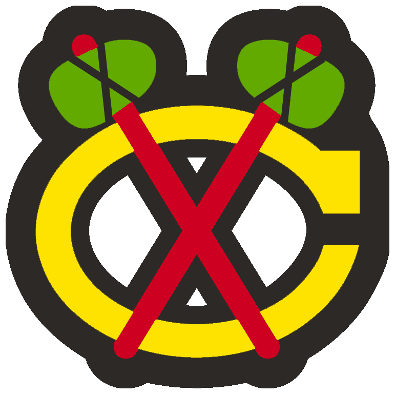 Chicago Blackhawks Logo Alternate Logo (1996/97-1998/99) - Yellow C with crossed tomahawks worn on the sleeve of the Blackhawks white jersey from 1996-97 through 1998-99 SportsLogos.Net