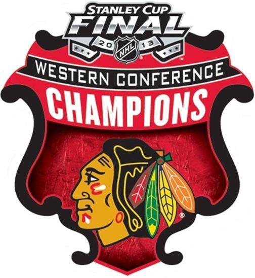 Chicago Blackhawks Logo Champion Logo (2012/13) - Chicago Blackhawks 2013 Western Conference Champions logo SportsLogos.Net