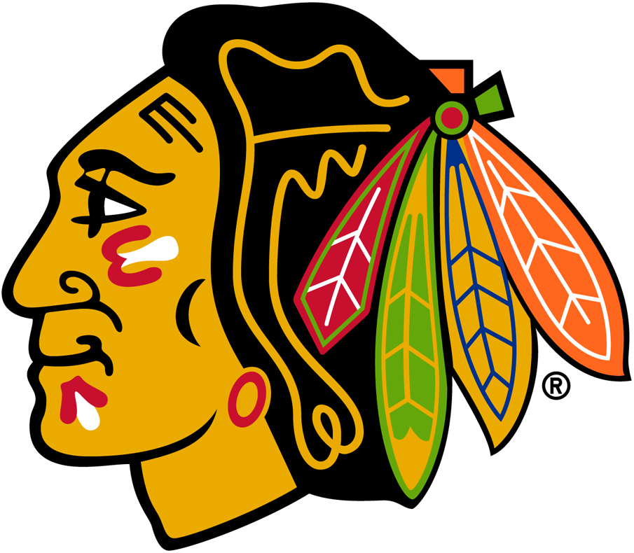 Chicago Blackhawks Logo Primary Logo (1989/90-1995/96) - A Native American head with a feathered head dress, this version was slightly modernized from the version used until 1989 -- shape of nose, shape of feathers, and outline around feathers are some of the changes. In 1997 various colour shades were adjusted notably in the feathers. SportsLogos.Net