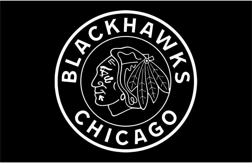 Chicago Blackhawks Logo Special Event Logo (2018/19) - Chicago Blackhawks 2019 Winter Classic jersey logo - black and white version of their logo with circle and team name around it, based on original 1920s Black Hawks logo SportsLogos.Net
