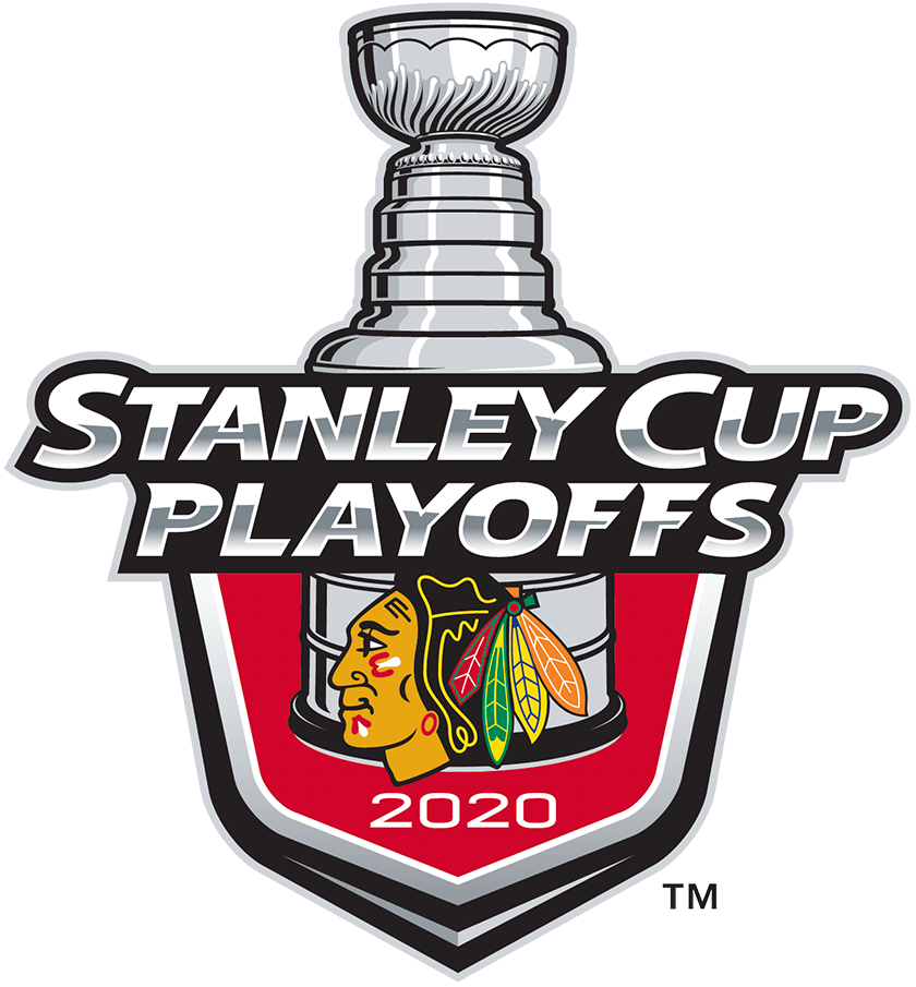 Chicago Blackhawks Logo Event Logo (2019/20) - The Chicago Blackhawks 2020 Stanley Cup Playoffs logo features the Blackhawks iconic primary logo on a red shield with STANLEY CUP PLAYOFFS written above in silver and 2020 below in white. A depiction of the top-half of the Stanley Cup can be seen above the shield. This logo is used by the Blackhawks on various materials throughout their participation in the 2020 NHL Stanley Cup Playoffs. SportsLogos.Net