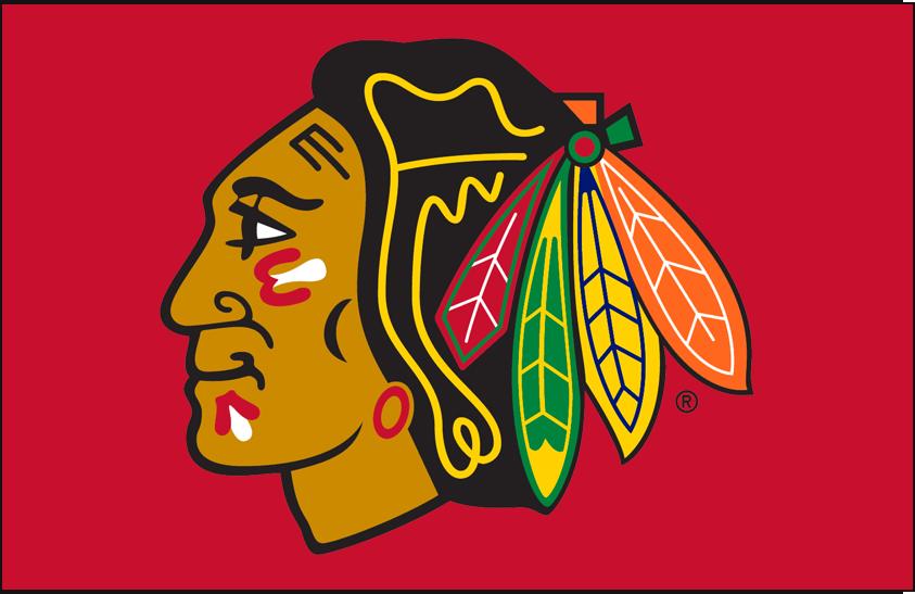 Chicago Blackhawks Logo Primary Dark Logo (1999/00-Pres) - Chicago Blackhawks primary logo on red SportsLogos.Net