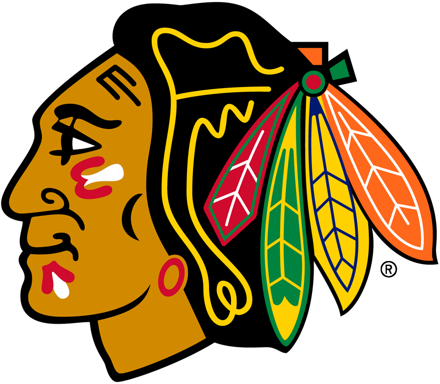 Chicago Blackhawks Logo Primary Logo (1999/00-Pres) - A Native American head with a feathered head dress, shades of the red, green and yellow feathers changed prior to the 1999-2000 season. SportsLogos.Net