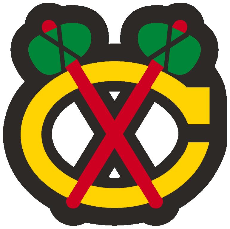 Chicago Blackhawks Logo Alternate Logo (1999/00-Pres) - A yellow C with red tomahawks crossed over it, worn on the Chicago Blackhawks white jersey starting in 1999-2000 season SportsLogos.Net