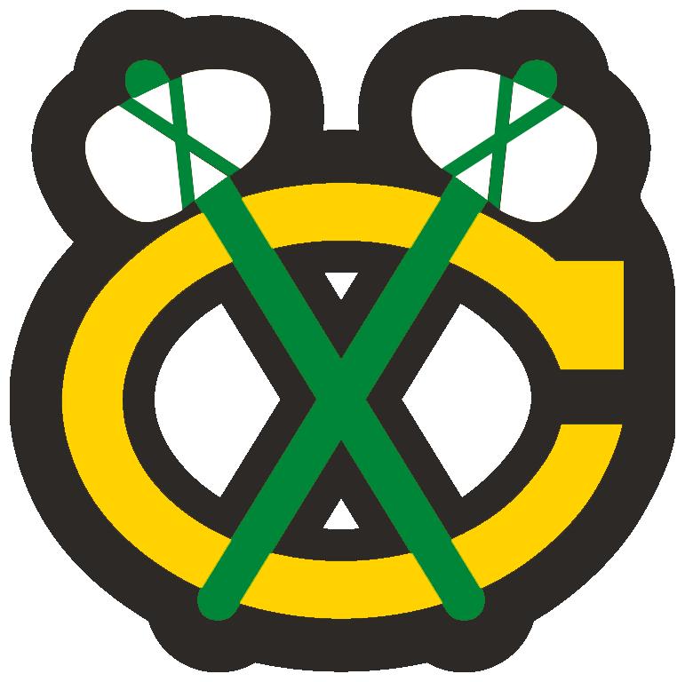 Chicago Blackhawks Logo Alternate Logo (1999/00-Pres) - A yellow C with green tomahawks crossed over it, worn on the Chicago Blackhawks red jersey starting in 1999-2000 season SportsLogos.Net