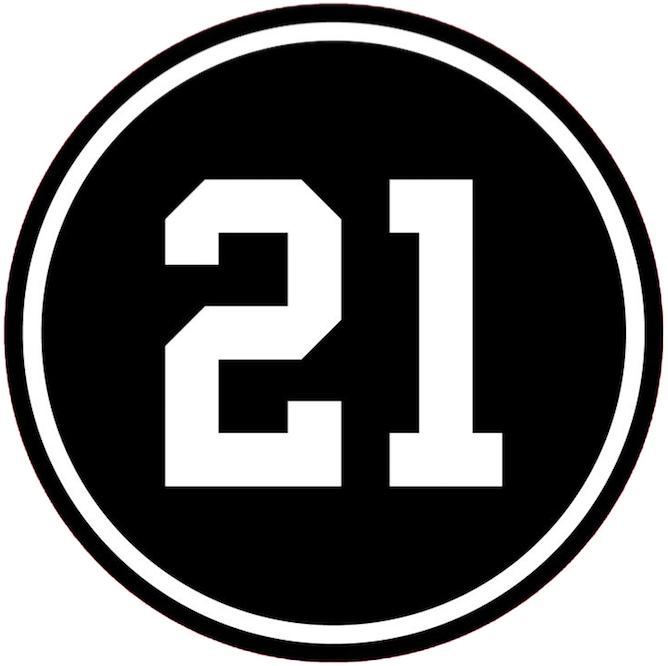 Chicago Blackhawks Logo Memorial Logo (2018/19) - Stan Mikita Memorial Logo, 21 in white on black circle worn on Blackhawks jersey in 2018-2019 season SportsLogos.Net