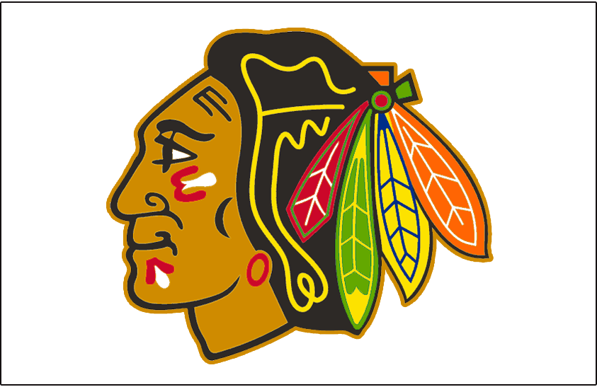 Chicago Blackhawks Logo Jersey Logo (1996/97-1998/99) - Native American head wearing feathered headdress with tan outline, worn on Blackhawks home white jersey from 1996-97 through 1998-99 seasons. Colours adjusted slightly for 1996-97 season, tan outline removed after 1998-99 season SportsLogos.Net
