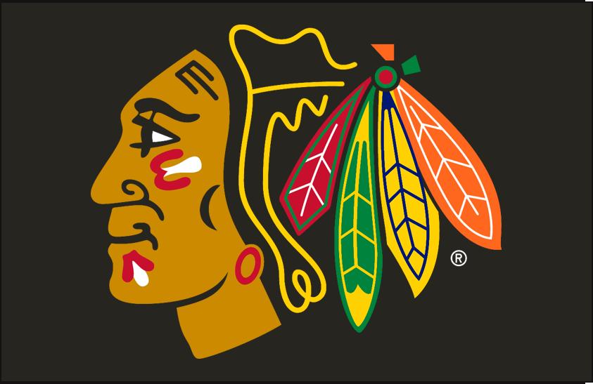 Chicago Blackhawks Logo Primary Dark Logo (1999/00-Pres) - Chicago Blackhawks primary logo on black SportsLogos.Net
