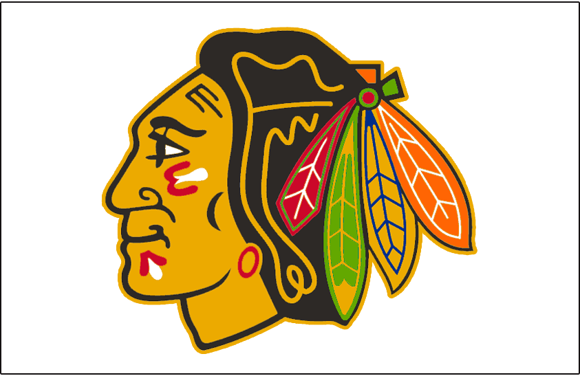 Chicago Blackhawks Logo Jersey Logo (1989/90-1995/96) - Native American head wearing feathered headdress on white, worn on Chicago Blackhawks white jersey from 1989-90 through 1995-96 SportsLogos.Net