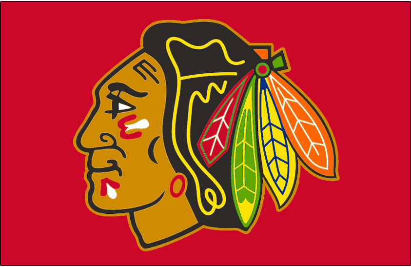 Chicago Blackhawks Logo Jersey Logo (1996/97-1998/99) - Native American head wearing feathered headdress with tan outline, worn on Blackhawks road red jersey from 1996-97 through 1998-99 seasons. Colours adjusted slightly for 1996-97 season, tan outline removed after 1998-99 season SportsLogos.Net