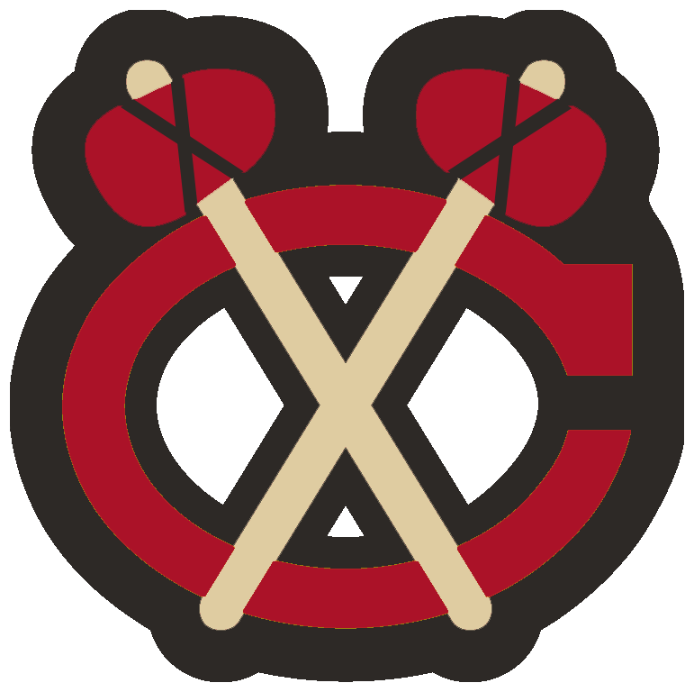 Chicago Blackhawks Logo Alternate Logo (2009/10-2010/11) - Red C with two beige and red tomahawks outlined in black, worn on shoulder of Chicago Blackhawks alternate jersey from 2009-10 through 2010-11 SportsLogos.Net