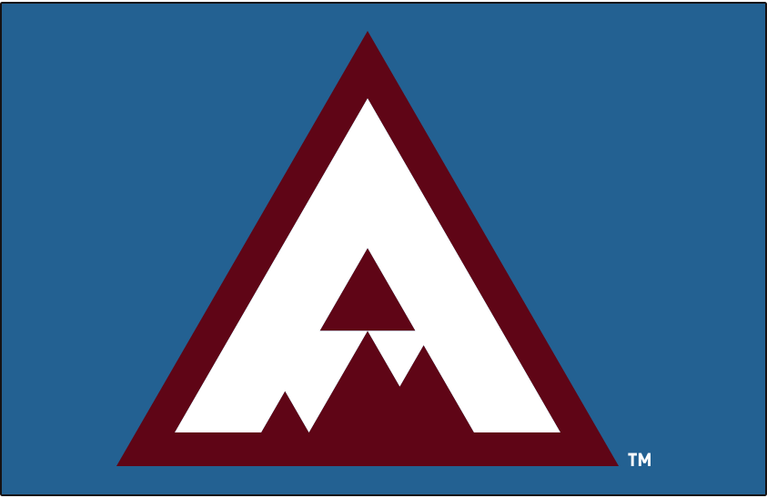 Colorado Avalanche Logo Special Event Logo (2019/20) - Burgundy triangle with a white A in the shape of a mountain peak on blue, used by the Avalanche for the 2020 Stadium Series game at Air Force Academy SportsLogos.Net