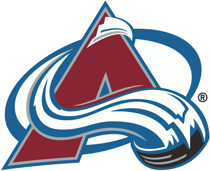 Colorado Avalanche Logo Primary Logo (1995/96-1998/99) - Burgundy A trimmed in silver and blue with a puck and avalanche streaking around and over it SportsLogos.Net
