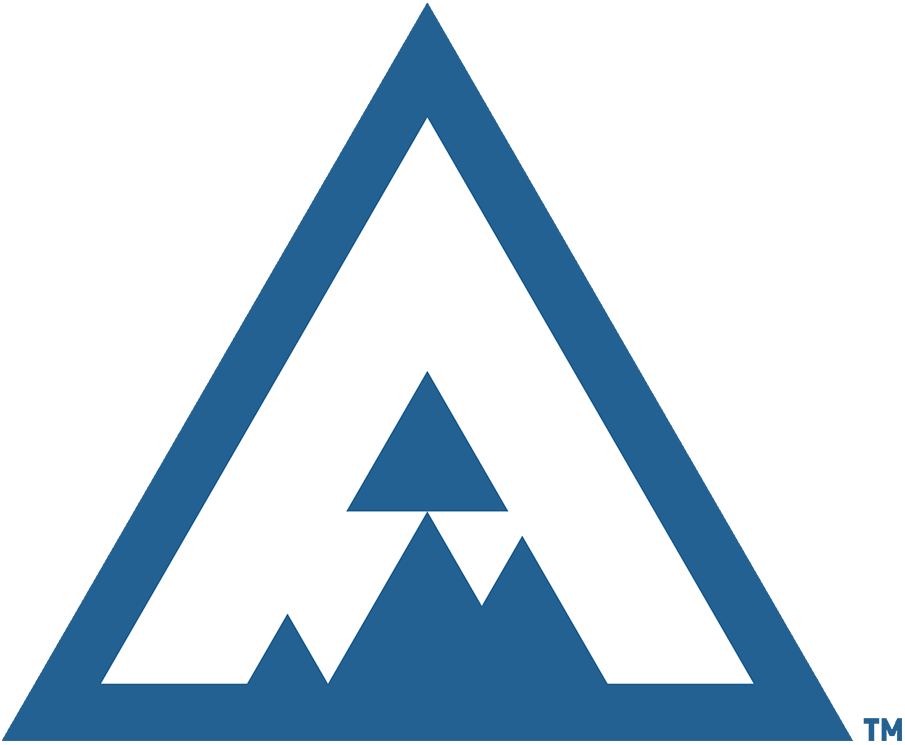 Colorado Avalanche Logo Special Event Logo (2019/20) - A white A with blue mountain detailing inside a blue triangle. Used by the Colorado Avalanche as their primary logo for the 2020 Stadium Series game at Air Force Academy SportsLogos.Net