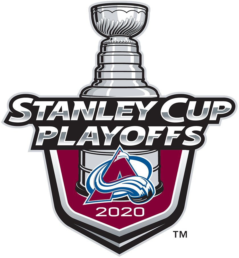 Colorado Avalanche Logo Event Logo (2019/20) - The Colorado Avalanche 2020 Stanley Cup Playoffs logo features the Avs primary logo on a burgundy shield with STANLEY CUP PLAYOFFS written above in silver and 2020 below in white. A depiction of the top-half of the Stanley Cup can be seen above the shield. This logo is used by the Avalanche on various materials throughout their participation in the 2020 NHL Stanley Cup Playoffs. SportsLogos.Net