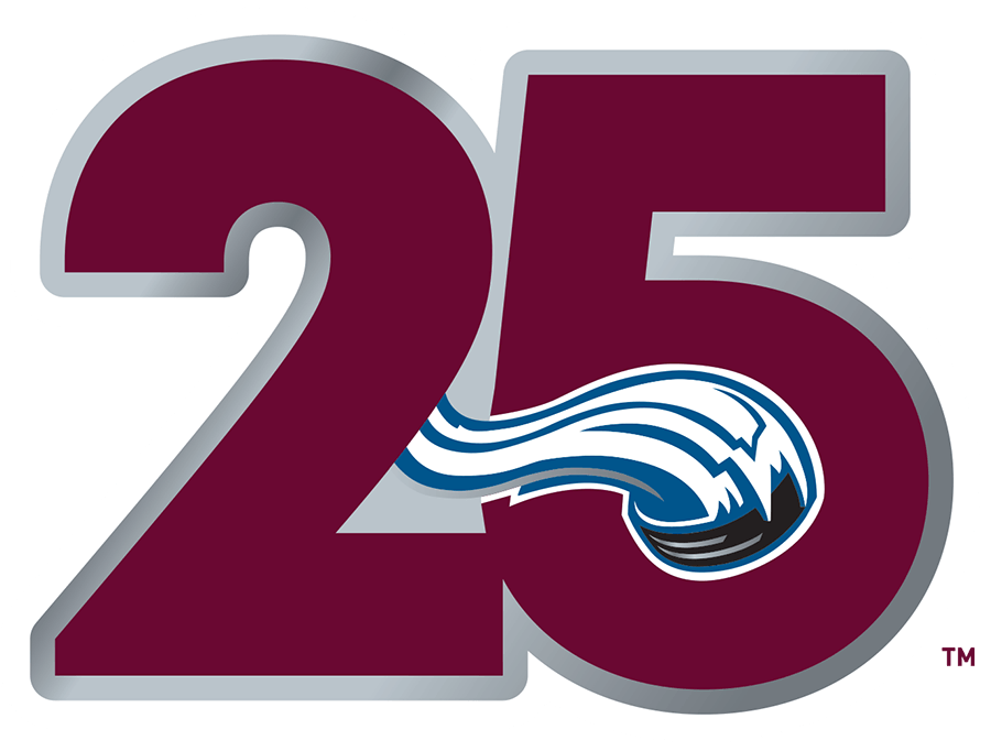 Colorado Avalanche Logo Anniversary Logo (2020/21) - For the 2020-21 season, the Colorado Avalanche celebrated 25 years since their first season playing in Denver following relocation from Quebec. The logo showed the number 25 in the Avs primary burgundy colour with the snow-pushed hockey puck seen in their primary logo embedded into the 5. This logo was worn as a patch on the Avs jerseys during this season. SportsLogos.Net