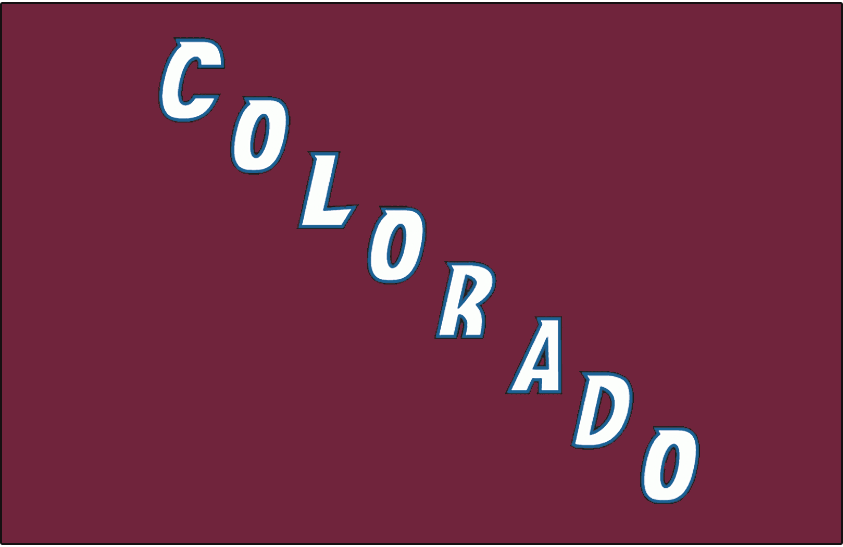Colorado Avalanche Logo Jersey Logo (2001/02-2006/07) - Colorado in white, trimmed in blue and black, running diagonally on burgundy. Worn on Colorado Avalanche burgundy alternate jersey from 2001-02 through 2006-07 SportsLogos.Net