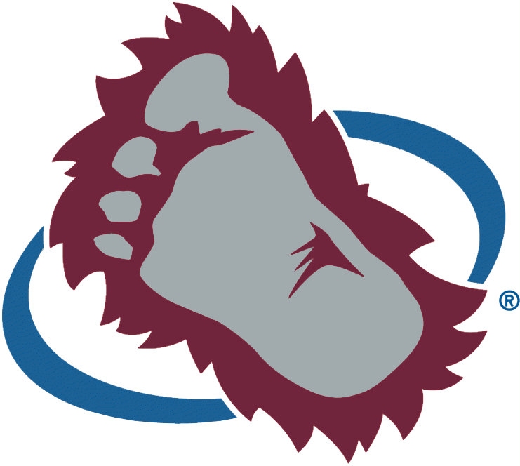 Colorado Avalanche Logo Secondary Logo (1999/00-2014/15) - A red and silver bigfoot foot with a blue oval around it SportsLogos.Net