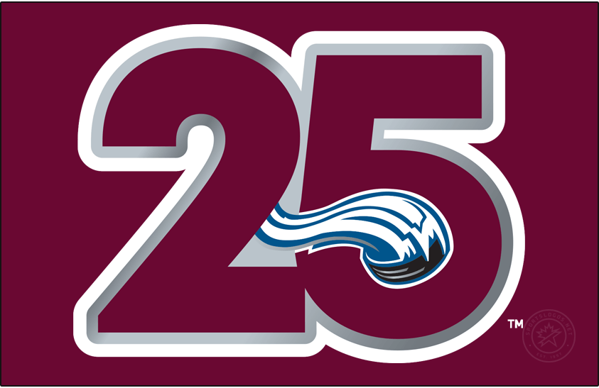 Colorado Avalanche Logo Anniversary Logo (2020/21) - For the 2020-21 season, the Colorado Avalanche celebrated 25 years since their first season playing in Denver following relocation from Quebec. The logo showed the number 25 in the Avs primary burgundy colour with the snow-pushed hockey puck seen in their primary logo embedded into the 5. This logo was worn as a patch on the Avs jerseys during this season. Logo is shown here on a burgundy background. SportsLogos.Net