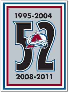 Colorado Avalanche Logo Special Event Logo (2013/14) - Adam Foote jersey retirement game patch - Worn as a jersey patch on the upper right shoulder in honour of Adam Foote on November 2nd 2013 SportsLogos.Net