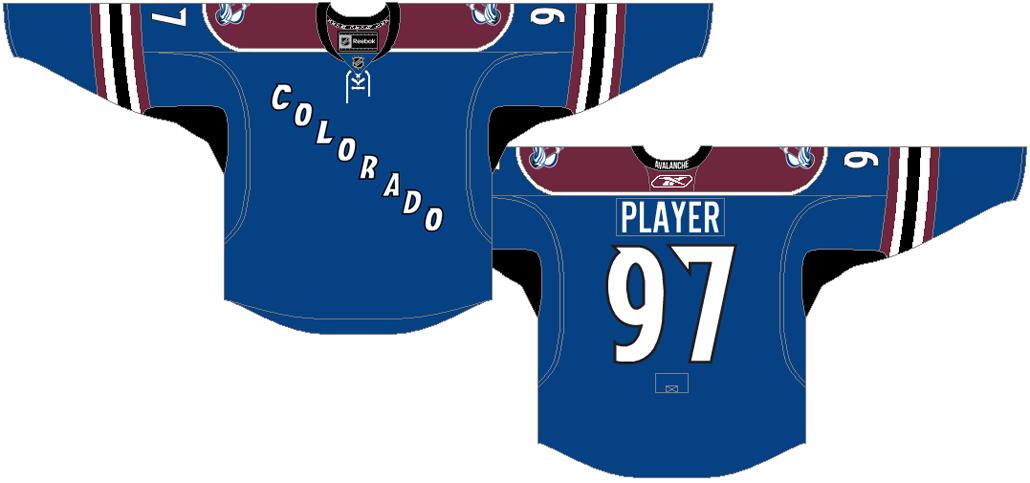 Colorado Avalanche Uniform Alternate Uniform (2009/10-2014/15) - Blue jersey with burgundy shoulders, COLORADO listed diagonally on the front SportsLogos.Net