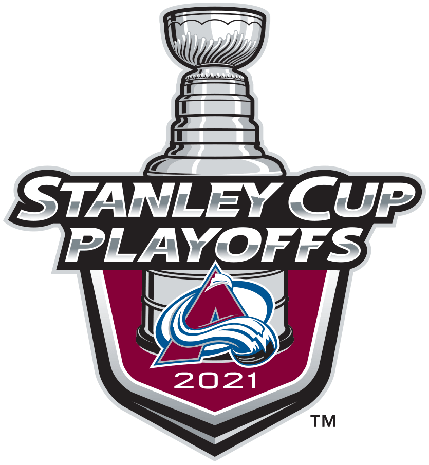 Colorado Avalanche Logo Event Logo (2020/21) - The Colorado Avalanche 2021 Stanley Cup Playoffs logo features the Avalanche mountain A logo on a burgundy shield with STANLEY CUP PLAYOFFS written above in silver and 2021 below in white. A depiction of the top-half of the Stanley Cup can be seen above the shield. This logo is used by the Avalanche on various materials throughout their participation in the 2021 NHL Stanley Cup Playoffs. SportsLogos.Net