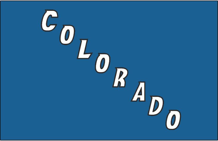 Colorado Avalanche Logo Jersey Logo (2009/10-2014/15) - Colorado in blue and black, written diagonally on blue. Worn on Colorado Avalanche alternate jersey starting in 2009-10 through 2014-15 SportsLogos.Net
