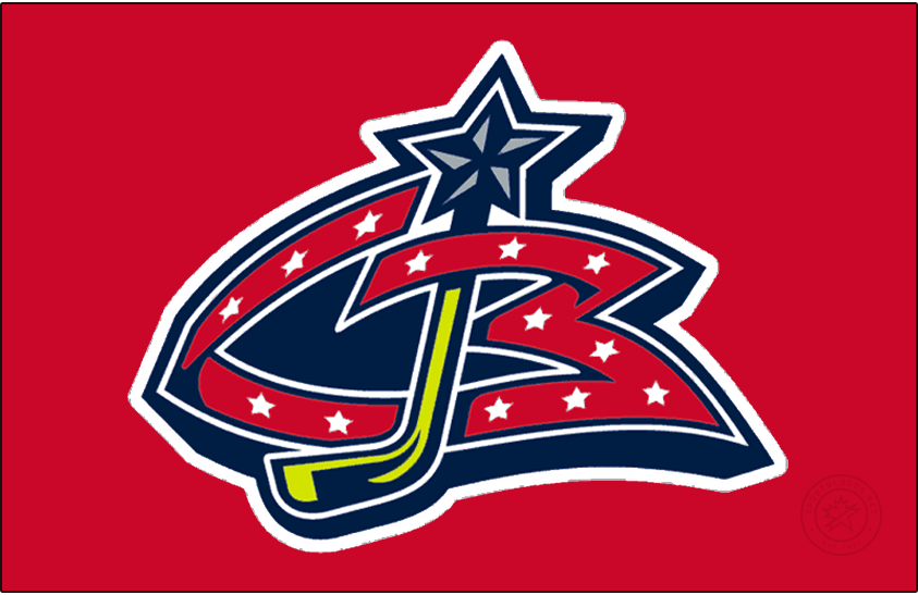 Columbus Blue Jackets Logo Jersey Logo (2020/21-Pres) - The Columbus Blue Jackets Reverse Retro logo, a throwback to the 2000 season with their logo of the era, a stylized CBJ in red and blue with stars throughout, the J is in neon green and also shaped like a hockey stick. Logo is worn on a red jersey. SportsLogos.Net