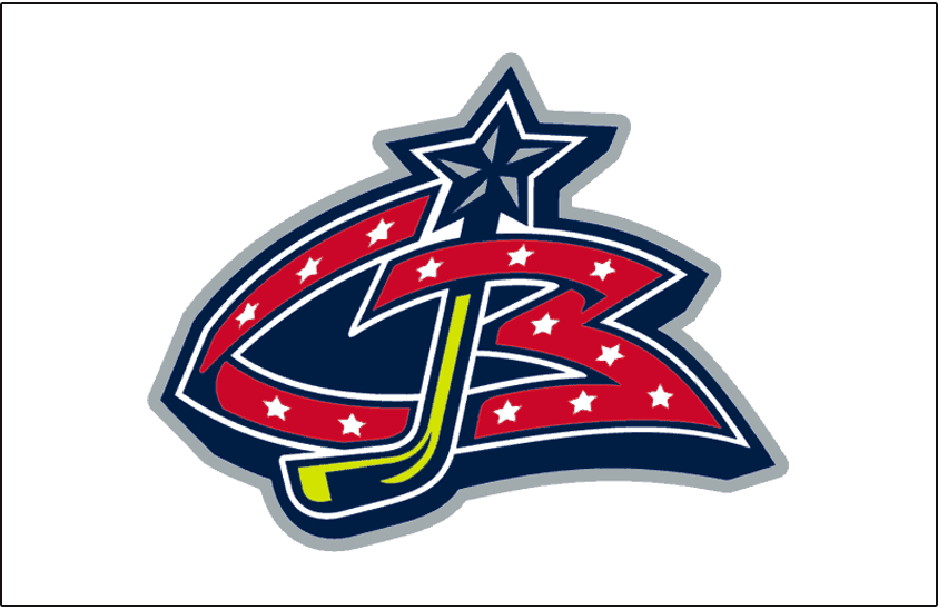 Columbus Blue Jackets Logo Jersey Logo (2000/01-2006/07) - A stylised red CB with a yellow hockey stick inserted as a J. Worn on Columbus Blue Jackets white uniform beginning in their inaugural 2000-01 season until 2006-07 SportsLogos.Net