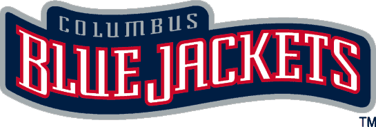 Columbus Blue Jackets Logo Wordmark Logo (2000/01-2006/07) - Blue Jackets in white wavy letters with Columbus above SportsLogos.Net