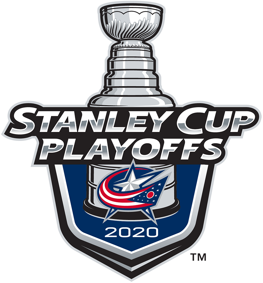 Columbus Blue Jackets Logo Event Logo (2019/20) - The Columbus Blue Jackets 2020 Stanley Cup Playoffs logo features the Blue Jackets star logo with an Ohio flag wrapped around in the shape of a C on a blue shield with STANLEY CUP PLAYOFFS written above in silver and 2020 below in white. A depiction of the top-half of the Stanley Cup can be seen above the shield. This logo is used by the Blue Jackets on various materials throughout their participation in the 2020 NHL Stanley Cup Playoffs. SportsLogos.Net