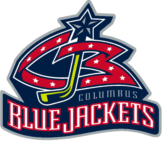 Columbus Blue Jackets Logo Primary Logo (2000/01-2006/07) - The team initials CBJ -- In red is the CB with stars on it, between them a hockey stick as a J and a star on top. Team script beneath. SportsLogos.Net