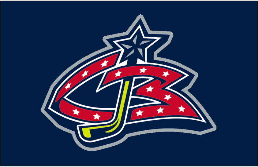 Columbus Blue Jackets Logo Jersey Logo (2000/01-2006/07) - A stylised red CB with a yellow hockey stick inserted as a J. Worn on Columbus Blue Jackets dark blue uniform beginning in their inaugural 2000-01 season until 2006-07 SportsLogos.Net