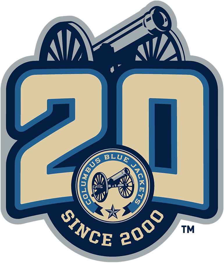 Columbus Blue Jackets Logo Anniversary Logo (2020/21) - To celebrate the 20th anniversary of their franchise, the Columbus Blue Jackets wore this commemorative 20th anniversary patch on their alternate third uniforms only during the 2020-21 NHL season. The logo shows a large light blue and tan 20 above the club's alternate jersey logo, the silver cannon from that logo, and the words SINCE 2000 arched below in tan. SportsLogos.Net
