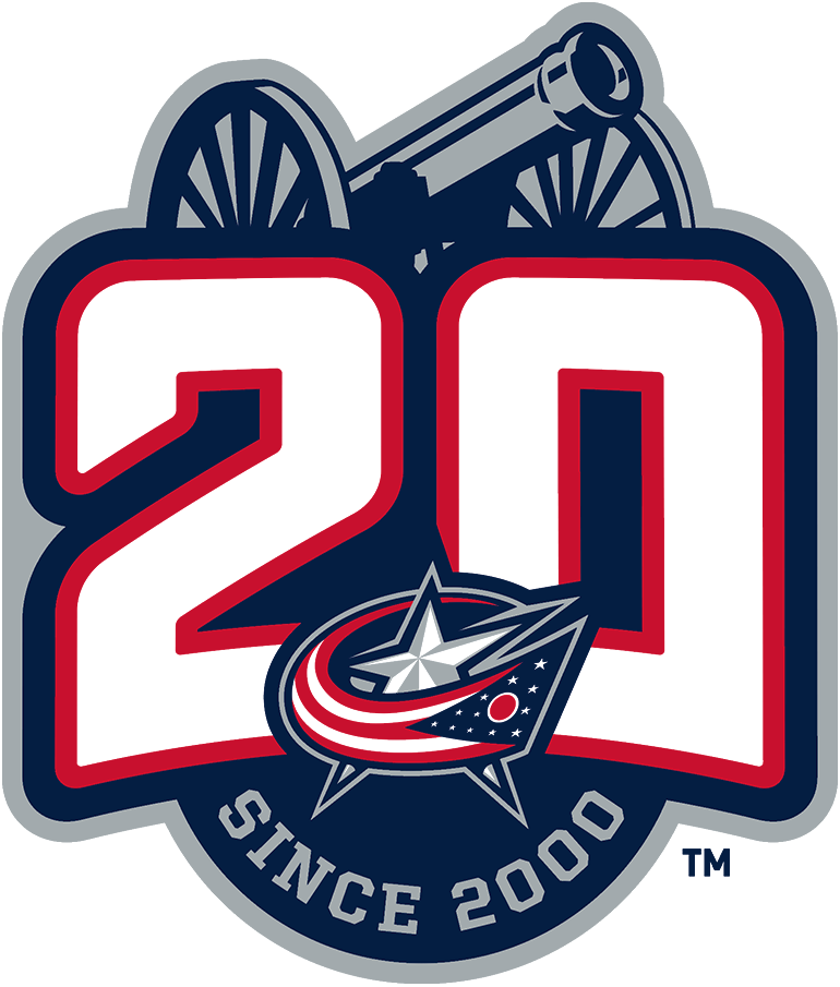 Columbus Blue Jackets Logo Anniversary Logo (2020/21) - To celebrate the 20th anniversary of their franchise, the Columbus Blue Jackets wore this commemorative 20th anniversary patch on their uniforms during the 2020-21 NHL season. The logo shows a large red and white 20 above the club's current primary logo, the silver cannon from their alternate logo, and the words SINCE 2000 arched below in silver. SportsLogos.Net