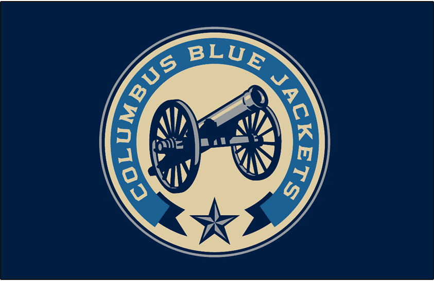 Columbus Blue Jackets Logo Jersey Logo (2018/19-Pres) - Cannon in a circle surrounded by banner and a star, worn on Blue Jackets third jersey SportsLogos.Net