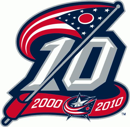 Columbus Blue Jackets Logo Anniversary Logo (2010/11) - Columbus Blue Jackets 10th anniversary logo SportsLogos.Net