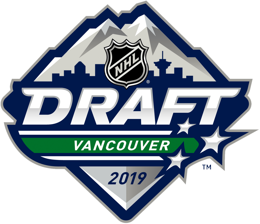 NHL Draft Logo Primary Logo (2018/19) - 2019 NHL Draft Logo held in Vancouver, BC - shows skyline of Vancouver in blue with silver mountain behind SportsLogos.Net