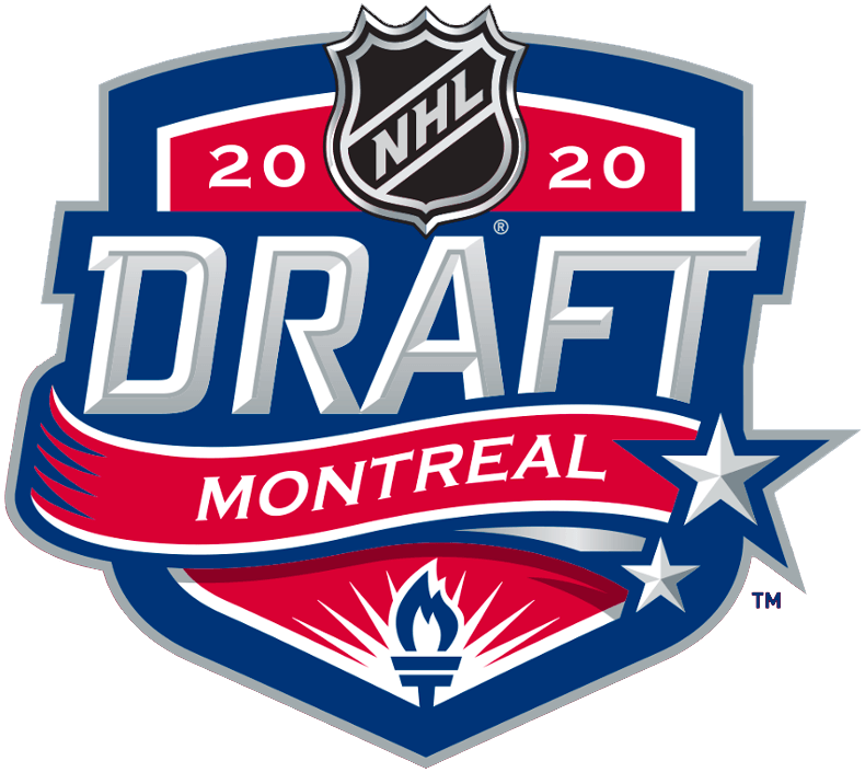 NHL Draft Logo Unused Logo (2019/20) - The original logo for the 2020 NHL Draft which was to be held in Montreal before it was re-tooled following the COVID-19 pandemic. Its main feature is a torch placed at the bottom of the shield. An important icon of Canadiens history, a reference to the verse: To you from failing hands we throw the torch, be yours to hold it high, from the famous First World War poem In Flanders Fields. The Canadiens have had this verse on the wall of their dressing room since 1952 at both the Montreal Forum and at the Bell Centre. SportsLogos.Net