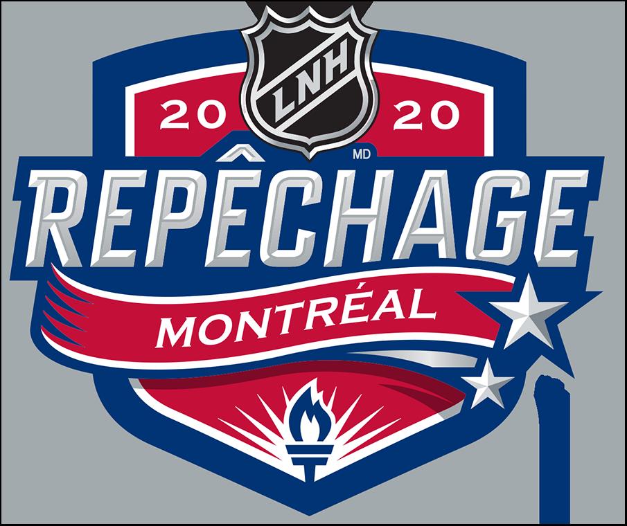 NHL Draft Logo Unused Logo (2019/20) - Original 2020 NHL Draft Logo in French -- logo originale pour le 2020 LNH Repechage Montreal. This was replaced due to the event being re-tooled because of the COVID-19 pandemic. Sa caracteristique principale est une torche placee au bas du bouclier. Icone importante de l'histoire des Canadiens, il fait reference a un vers du celebre poeme de la Premiere Guerre mondiale